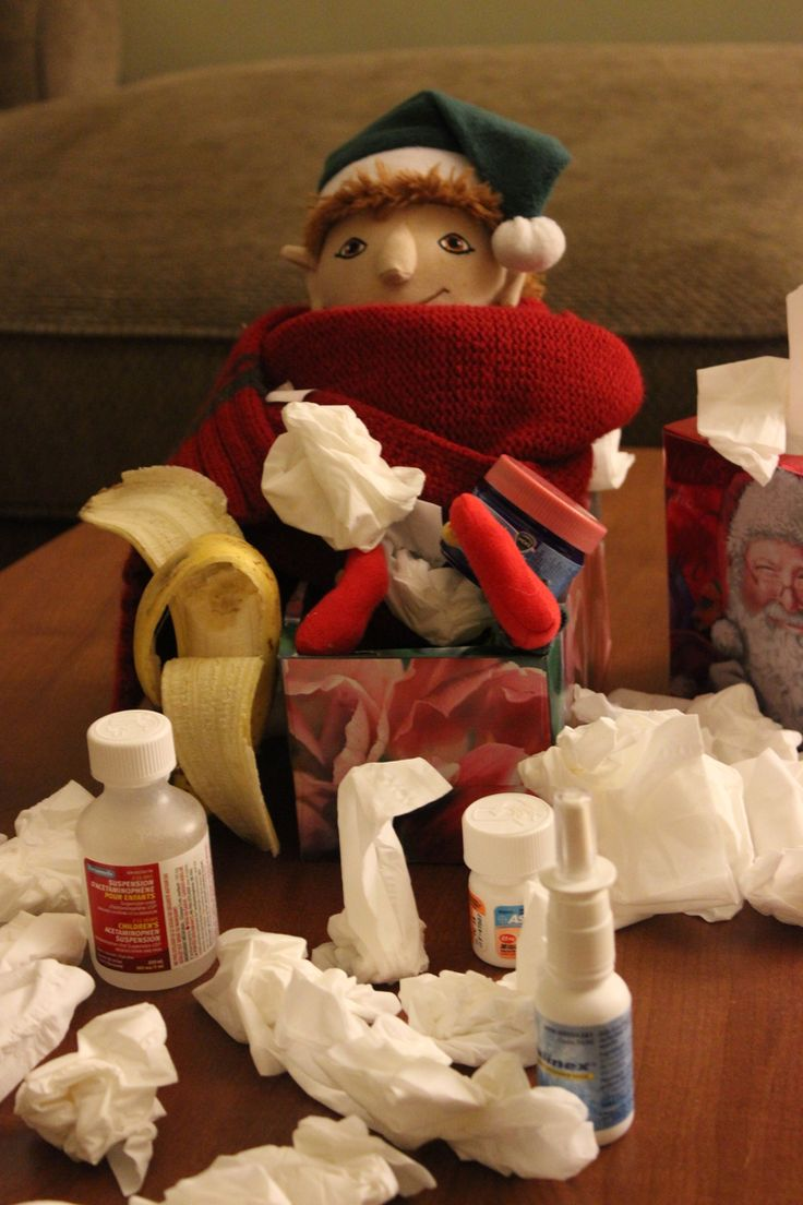 Tour à faire avec son lutin de Noël: Votre lutin est malade Elf on the shelf idea: Your elf is sick