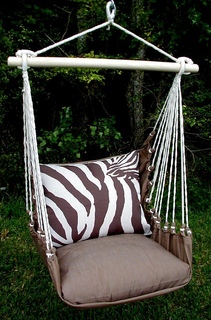 Zebra Indoor/Outdoor Swing Chair   Acacia