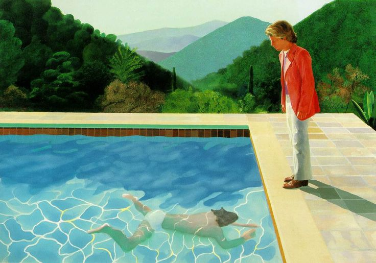 I like how he made it more fake looking and look like tile. By: David Hockney