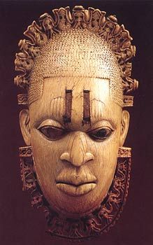 """African mask carved from ivory for the """"Oba,"""" (King) of Benin, believed to date from the 16th century."""