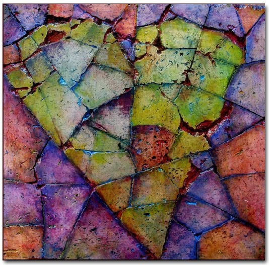 """""""heart of stone"""" - painting on broken stone by d. goth"""