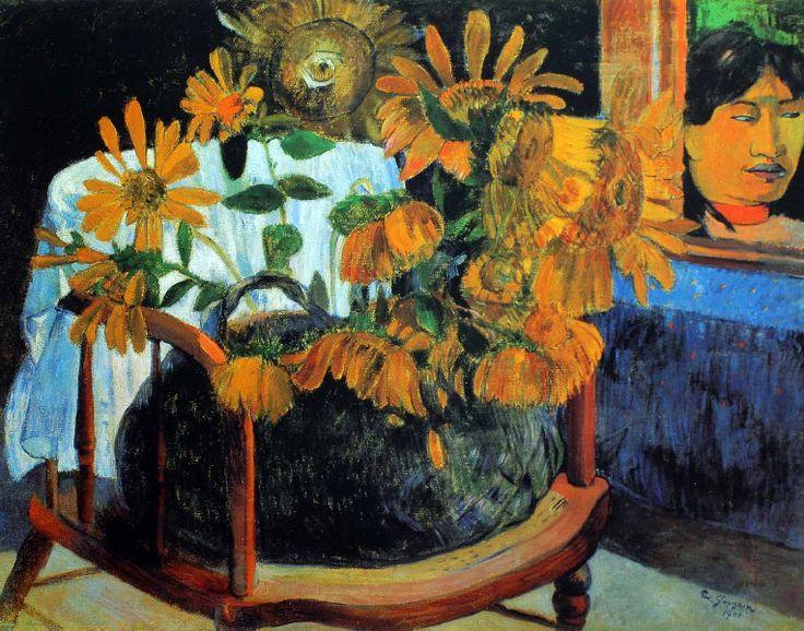 Paul Gauguin - Post Impressionism - Tahiti - Fleurs de tournesols sur un fauteuil - 1901
