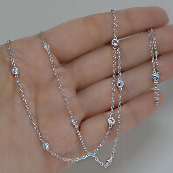 Colar Tiffany Cristal Prata 925 - 70 cm – Lanarée Acessórios                                                                                                                                                                                 Mais