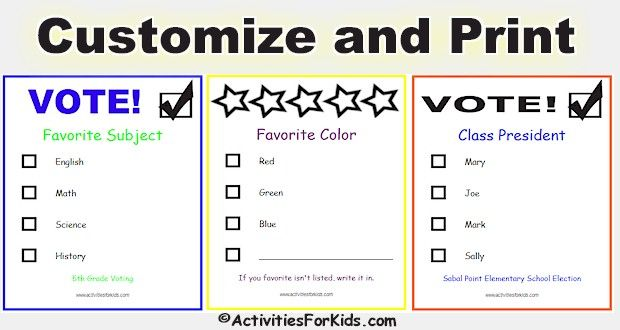 Customize and Print voting ballots for your classroom. For any classroom activity that uses a ballot, easy to customize.