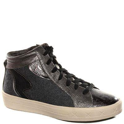 #Sneaker allacciata alta in caviglia in tessuto tecnico e pelle grigia.