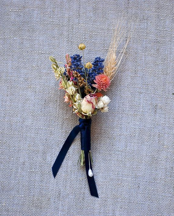 Fall Wedding Boutonniere of Lavender, Larkspur, Wheat and Rosebud Dried Flowers