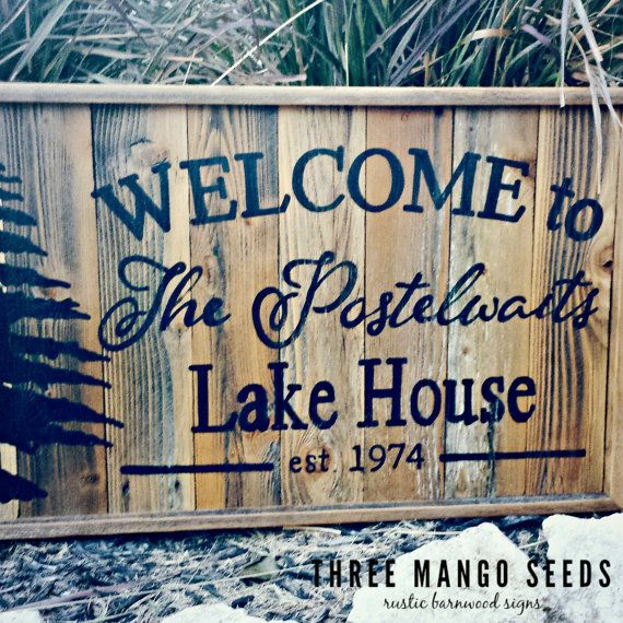 Personalized Welcome Rustic Wood Sign / 17x25 / Hand Lettered / Fixer Upper / LAKE HOUSE / Wall Art / Framed /Reclaimed Wood Sign/Pallet Art
