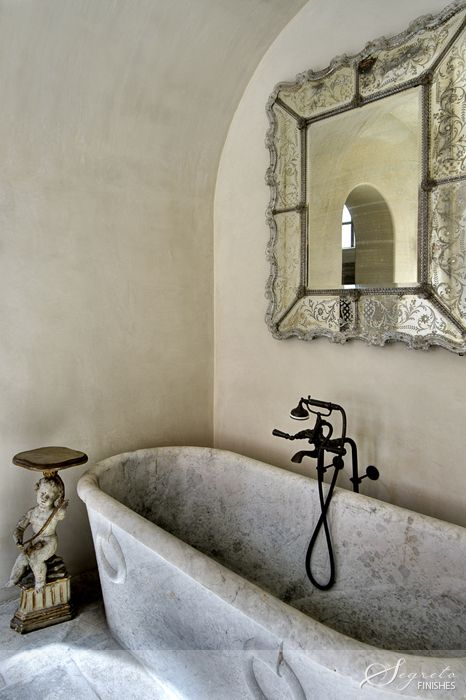 Antique Roman Style Tub, A Venetian Mirror, Plaster Walls By Segreto  Finishes.