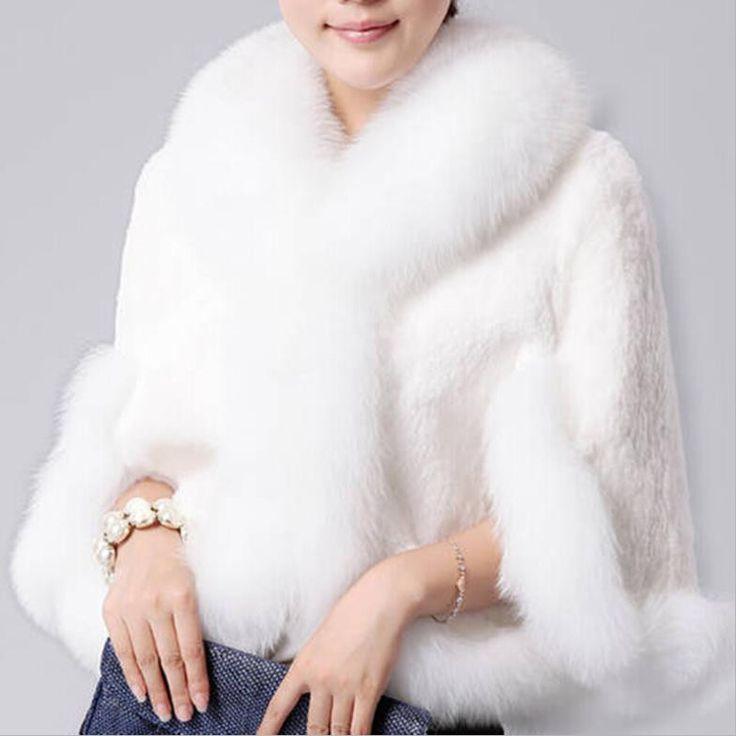 Fur Faux Fur Coat Mink Hair Rex Rabbit Hair Cape Jacket 2015 Black White Fur Overcoat Imitation Rabbit Fur Faux Fox Collar XXXL