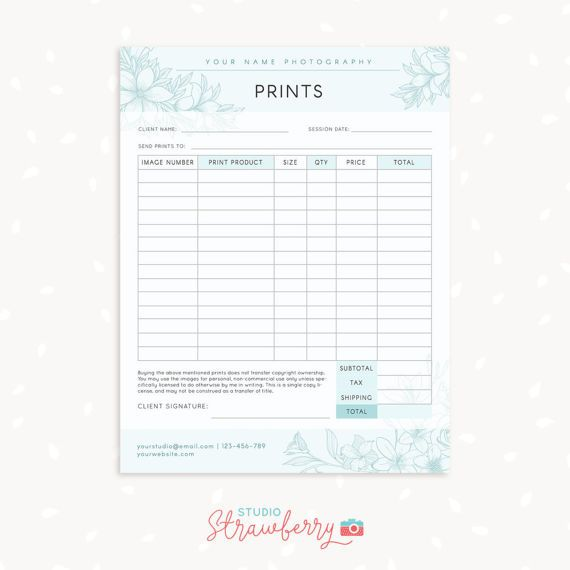 Order form template Floral Photography order form