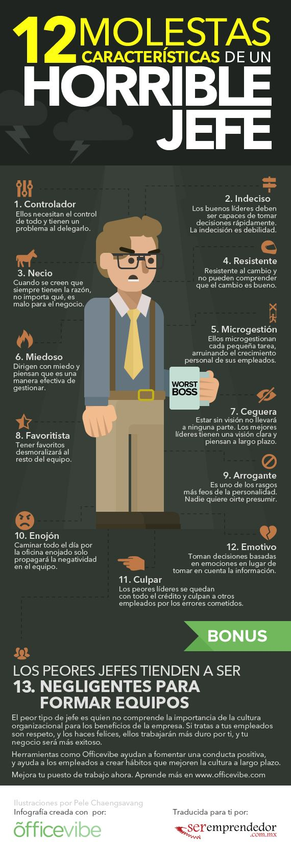 12 características de un mal jefe #infografia #infographic #rrhh