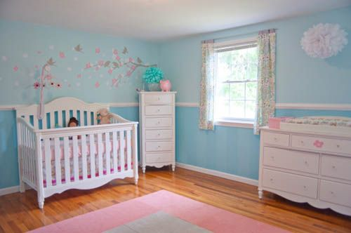 Hannah's room already has a chair rail. I'm trying decide if I want to  paint it one color or two different shades. | Kids rooms | Pinterest |  Nursery, ...