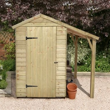 6x4 Shed Republic Essential Pressure Treated inc Lean-To Overlap Wooden Shed