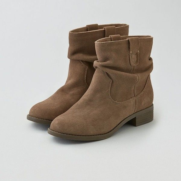 American Eagle Slouchy Suede Boot Cuties ($60) ❤ liked on Polyvore featuring shoes, boots, brown, slip on shoes, brown suede shoes, suede slouch boots, slouchy boots and flat slouch boots