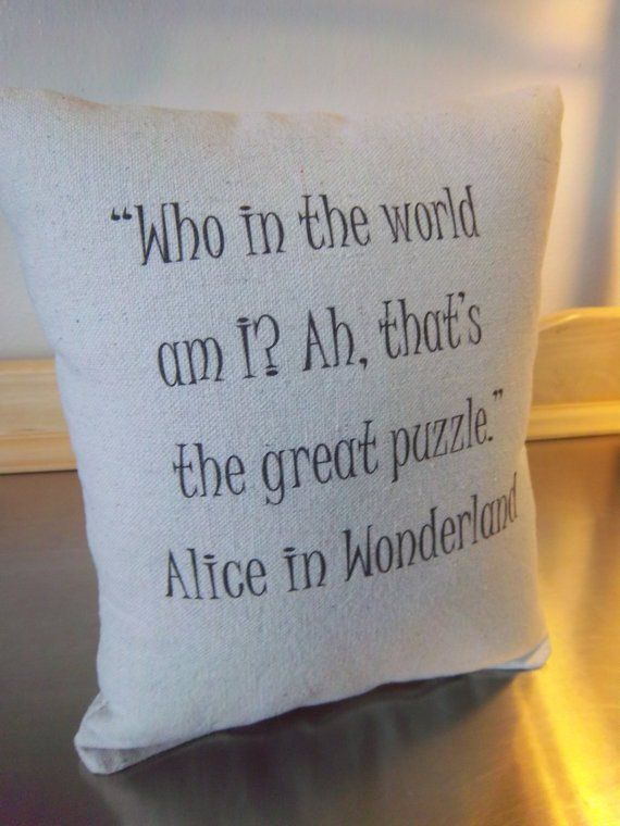 Alice in Wonderland pillow quote throw pillow kids room decor cotton cushion