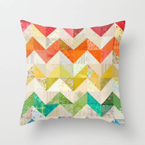 Chevron Rainbow Quilt Throw Pillow... want to make these for the sitting area in kiddo room. <3