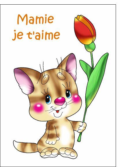 Carte Petit chat fete des mamies pour envoyer par La Poste, sur Merci-Facteur !