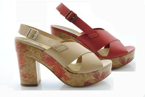 P13-scarpe-donna-FORNARINA-shoes-sandali-tacco-sughero-NUOVA-COLLEZIONE