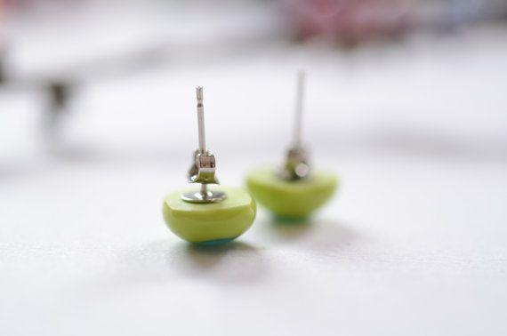 925 Argento Orecchini a bottone in vetro colore verde