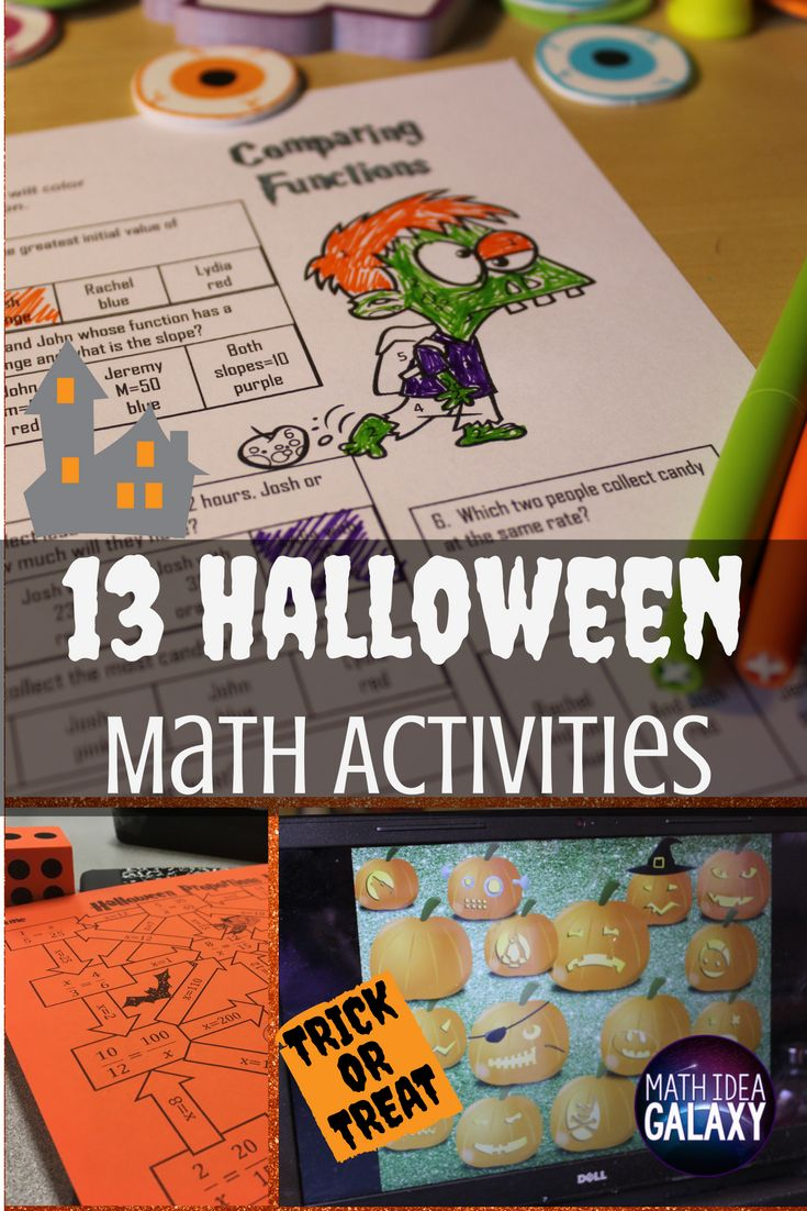 13 easy to implement ways to bring a bit of seasonal Halloween fun into the middle school math classroom. Includes free pumpkin exit ticket download & free customizable game template.