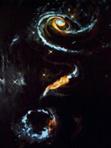 Interpretation of a Spiral Rose Shaped Galaxy Oil on Slate 76.5 cm x 49.5 cm
