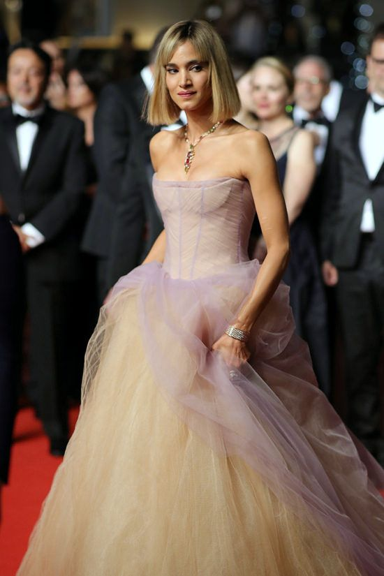 Sofia Boutella wore a Vera Wang Spring 2019 lavender + nude tulle gown to  the