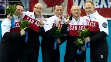 Canadian men's curling team after winning gold in Sochi! Congrats to team Canada <3