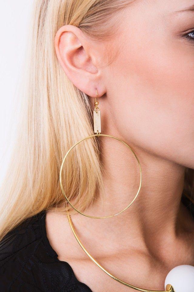 Donna - earrings brass by Langaeble Stockholm #Scandinavian #Jewellery