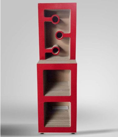 Red wine bottle rack. Colorful and ecofriendly wine space.