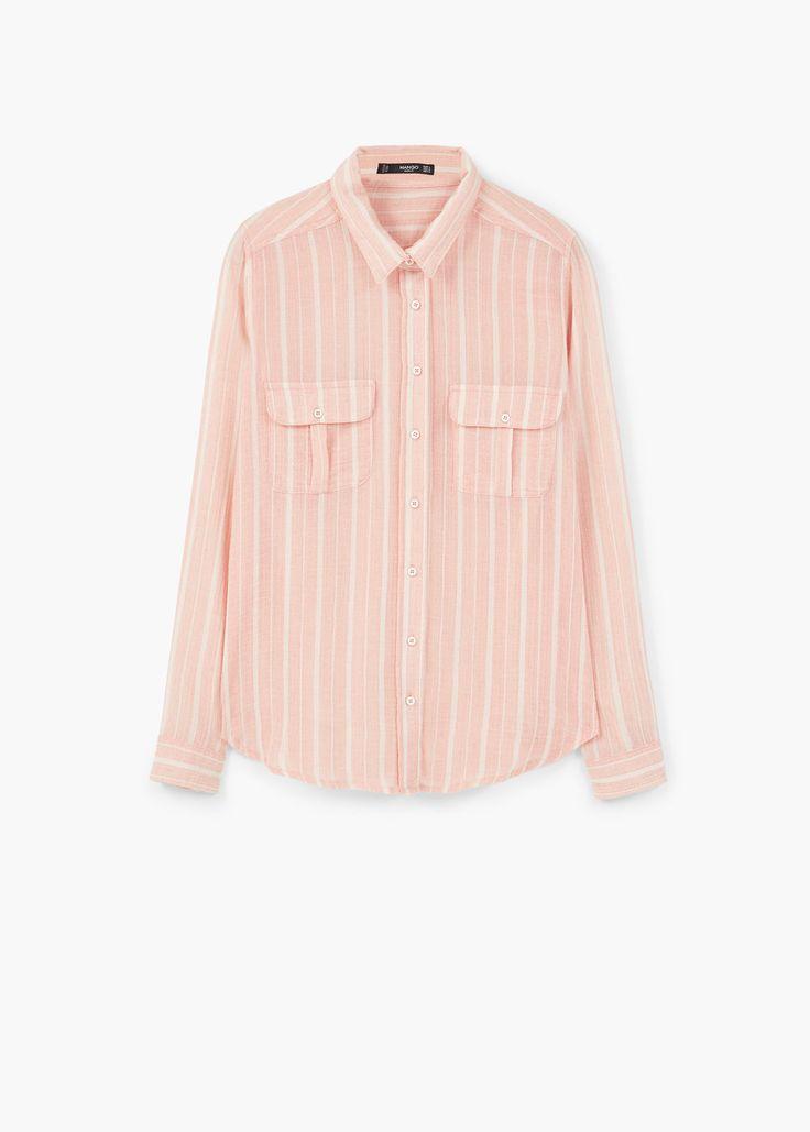 Хлопковая рубашка в полоску | MANGO МАНГО