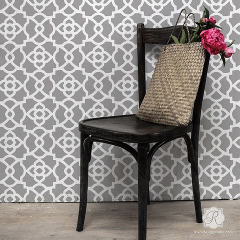 Our Mamounia Moroccan Trellis Wall Stencil in an allover trellis pattern is super easy to stencil and perfect for Moroccan decor, and anywhere you want to use a bold geometric pattern. You can also us