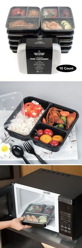 10 Meal Prep Disposable Box Lunch Boxes Plastic Lunch Boxes Three Grid Packing Box Black