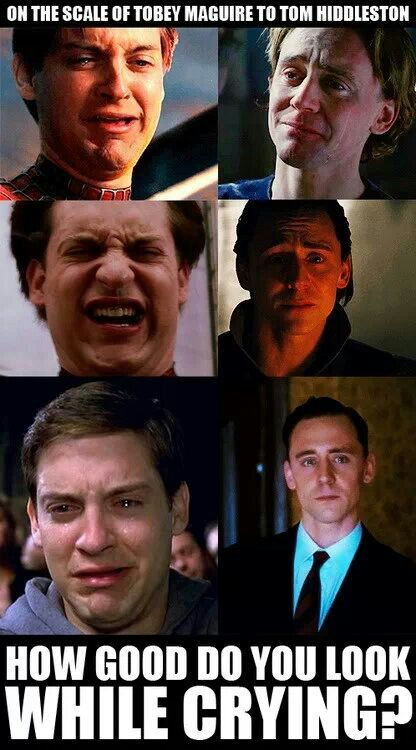I don't even know what Tobey's second face is from, but boy do I know what Tom's second face is from!!! The Loki cry.....