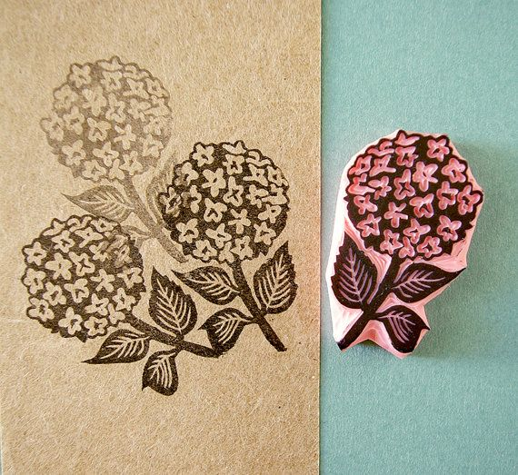 Hydrangea flower stamp  wedding rubber stamp  by CassaStamps