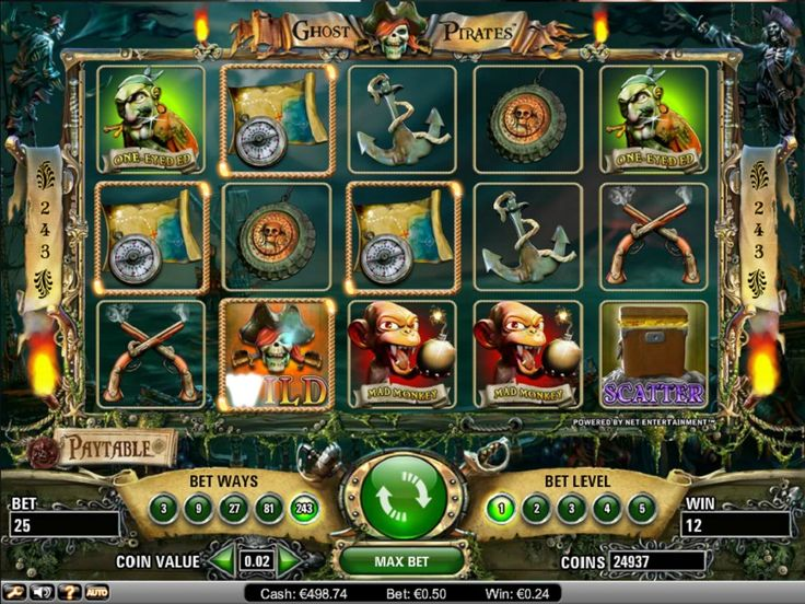 Ghost Pirates Spelautomater - Det finns två bonusfunktioner med pirattema att hålla utkik efter. Det första startar när tre guldmynt hamnar på en aktiv linje. - http://www.svenska-spelautomater-gratis.com/spel/ghost-pirates-spelautomater #GhostPirates #Spelautomater #Slotmaskiner #Jackpot