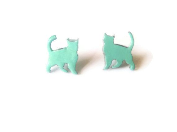 Hey, I found this really awesome Etsy listing at https://www.etsy.com/listing/153268387/mint-green-cat-studs-walking-cat