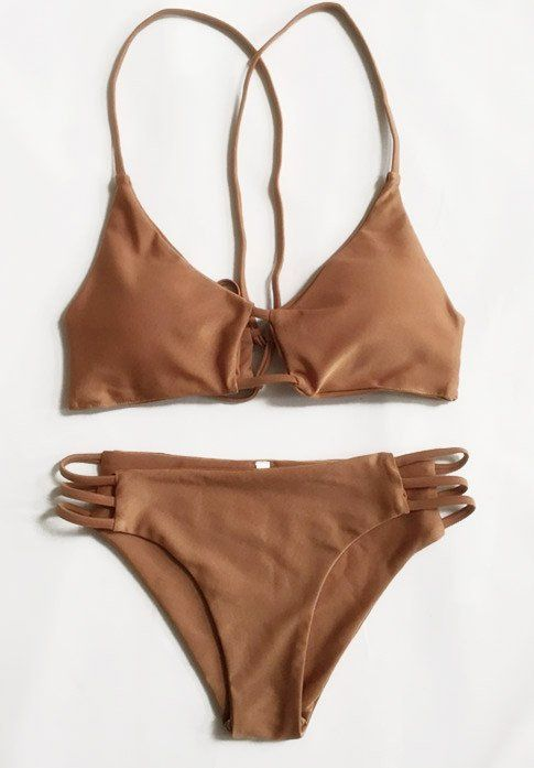 Sexy Bikini Brown Swimsuit Top and Bottom
