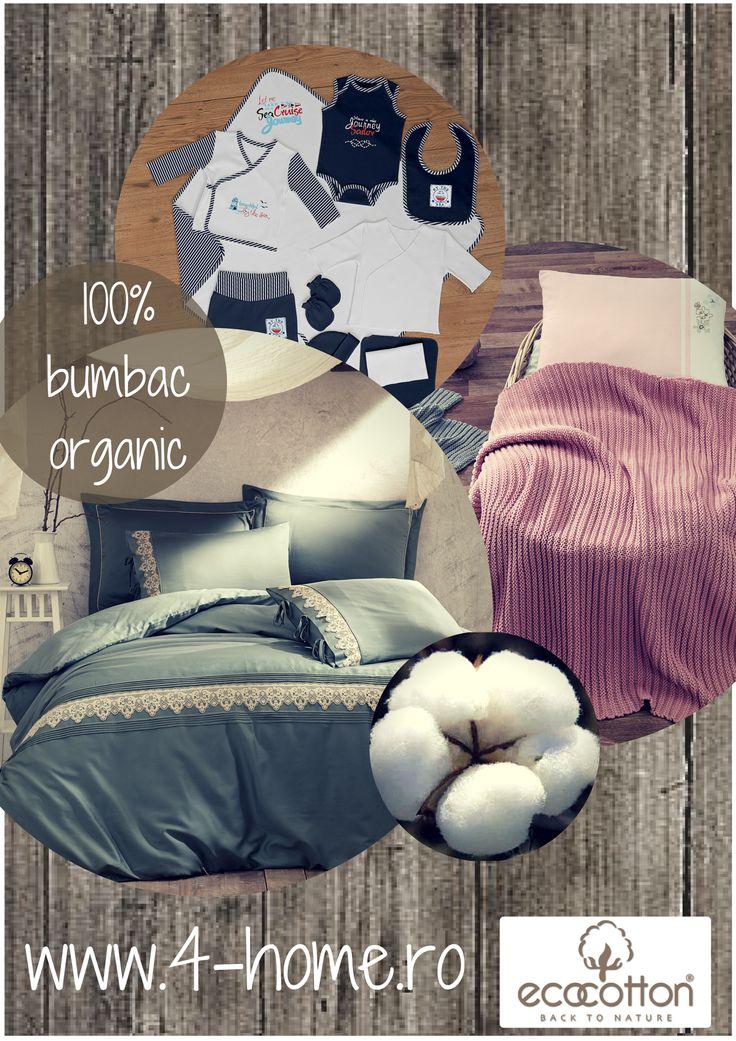 Lenjerii de pat, halate de baie, prosoape, haine pentru copii, seturi pentru nou-nascuti, seturi pentru baie, paturi si alte articole pentru casa din bumbac organic doar pe www.4-home.ro