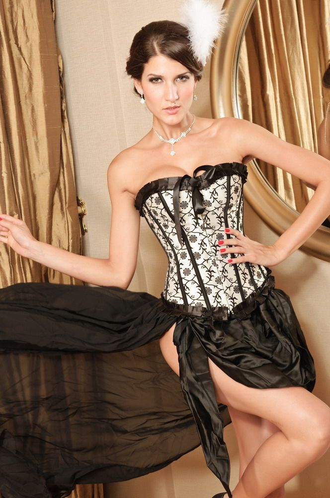 Black and Ivory Flock Corset with a Pleated Trim