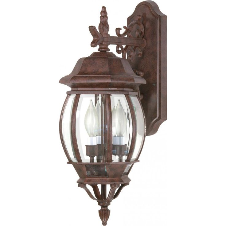 Central park 3 light 22 wall lantern with clear beveled glass