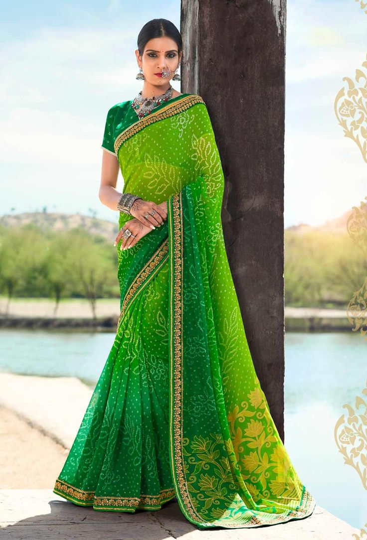 Green Georgette Kutch Bandhani Saree With Lace border