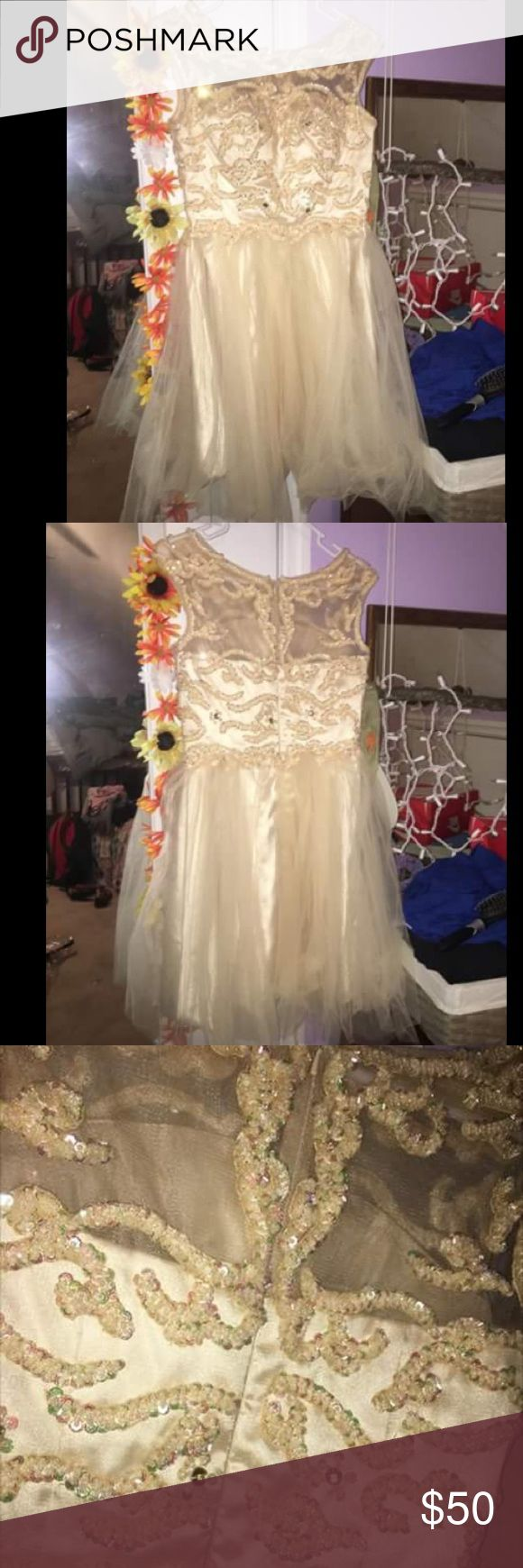short prom dress champagne colored dress wore once for about 2 hours. smoke free home. size 3/4 jjs house Dresses Prom