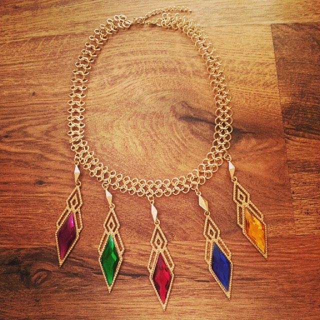 Gold multicoloured spike necklace