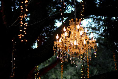 Hang a chandelier in a tree for drama outside... <3