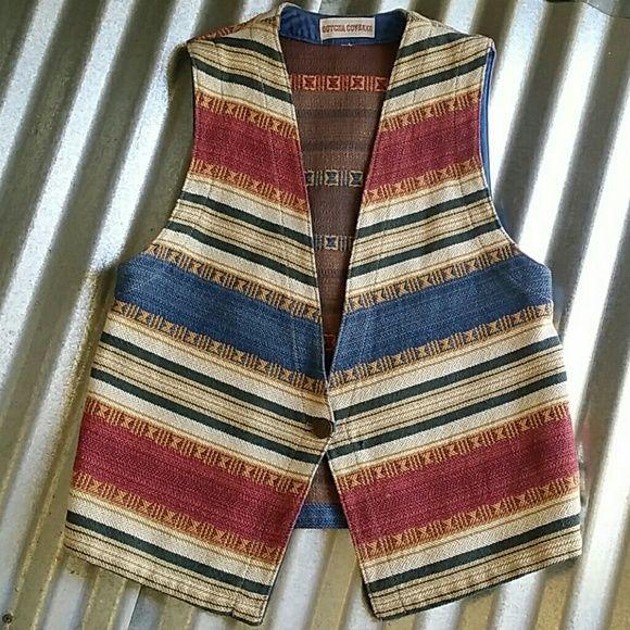 Vintage Southwest Vest Neutral tones in this beautiful vest. No size indicated. I believe it fits like a Medium. Boho, Bohemian, Western, Southwestern, Cowgirl, Aztec Gotcha Covered Jackets & Coats Vests