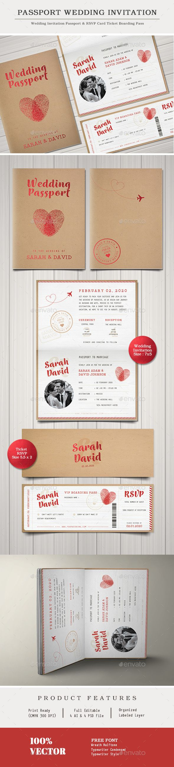 free wedding invitation psd%0A Vintage Passport Wedding Invitation