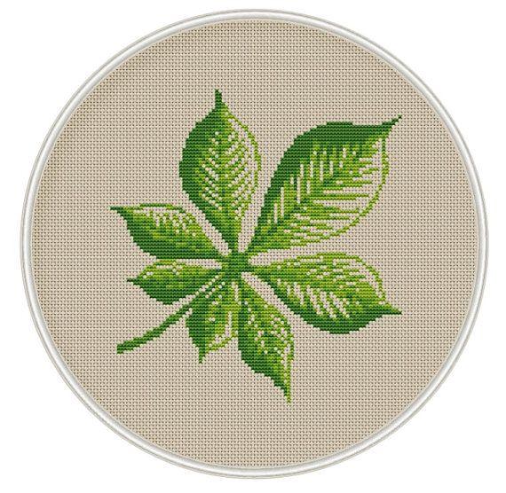 Chestnut leaf heart Сross stitch pattern, cross stitch PDF, Instant Download, needlepoin, Spring, Summer, tree cross stitch, MCS070
