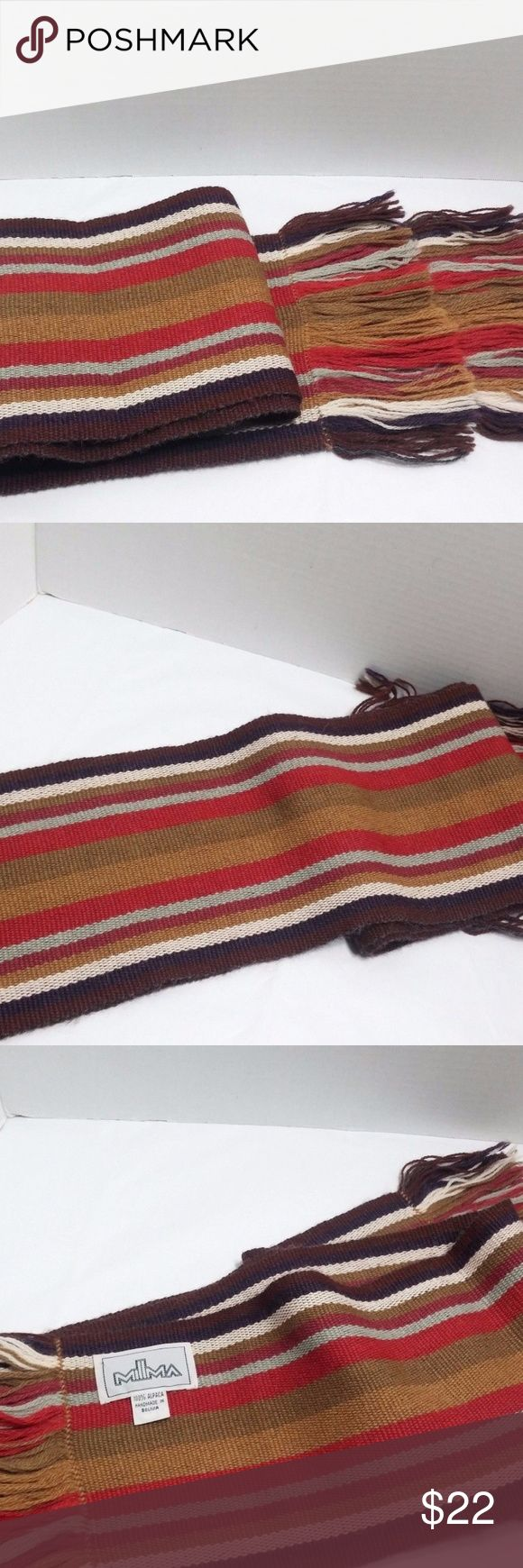 """Millma Alpaca Scarf Handmade in Bolivia Striped Millma Alpaca Scarf Handmade in Bolivia Striped Fringed Men's Women's Unisex   Good, clean condition   6.5"""" wide and 68"""" long Millma Accessories Scarves & Wraps"""
