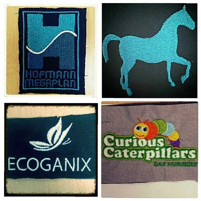 Here are some more embroidery samples.  Including Hofmann Megaplan, Ecoganix and Curious Caterpillars Day Nursery. #print #embroidery #stitch #sew #caterpillar #horse #butterfly