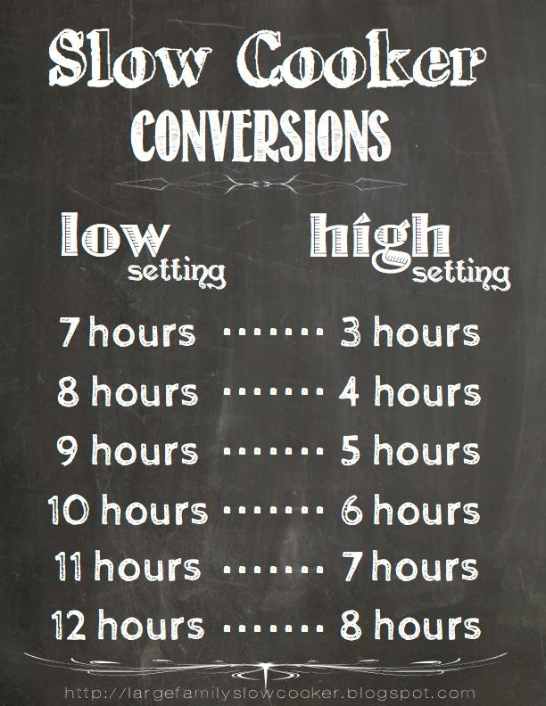 slower cooker time conversions chart